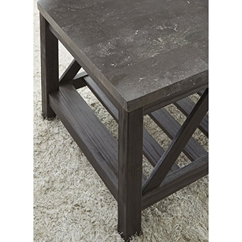 New Badin Charcoal Grey End Table With Bluestone Top By Greyson Living By  Greyson Living