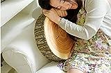 HS 1PC Logs Pillow Head Rest Decorative Wooden Pillow Home Car Cushion (Round:D:35cm H:7.5cm)