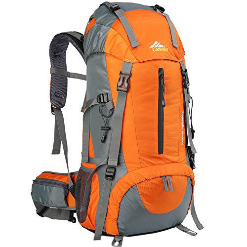 Loowoko Hiking Backpack 50L Travel Daypack Waterproof with Rain Cover for Climbing Camping Mountaineering (Orange)