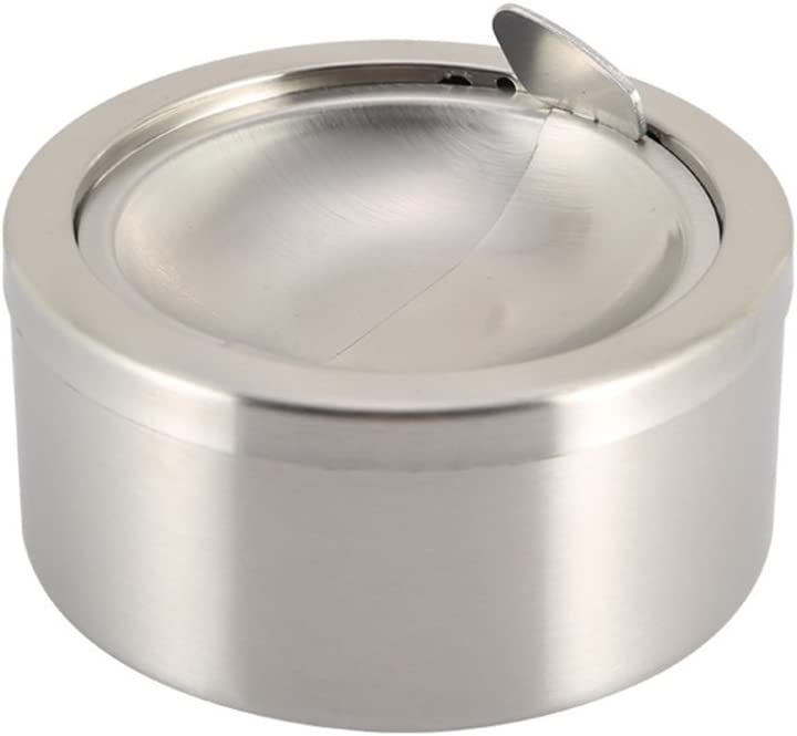 Zaoniy Stainless Steel Ashtray with lid, Cigarette Ashtray for Indoor or Outdoor Use, Ash Holder for Smokers, Desktop Smoking Ash Tray for Home Office Decoration (Matte Silver)