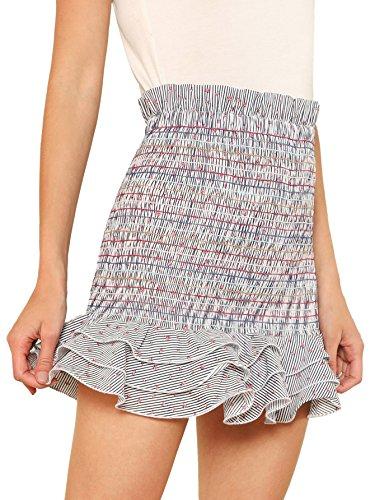 Floerns Women's Striped Tiered Ruffle Hem Smock Skirt Multi-1 (Hem Mini Skirt)