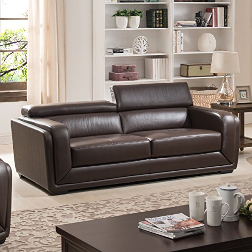 Calvin Collection Modern Style Leather Living Room Collection, Dark Brown (Sofa)