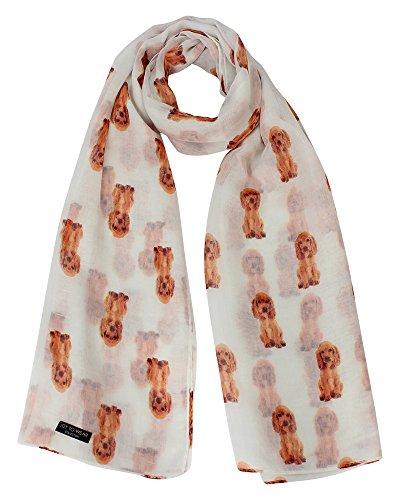(Spaniel Dog Print Ladies Fashion Scarf Neck Wrap (Cream))