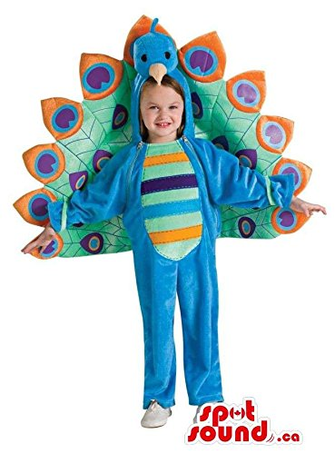 [Peacock Children Size Costume With A Colourful Tail] (Colourful Costumes For Kids)