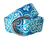 kids d ring belt - No27 Womans Blue Lace Pattern Fabric Belt, D-Ring Belt, Womans and Girls Blue Belt