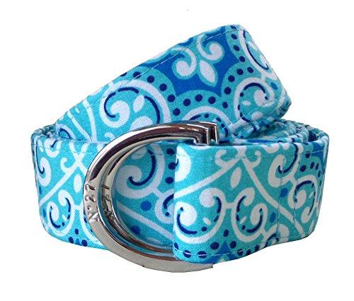 No27 Womans Blue Lace Pattern Fabric Belt, D-Ring Belt, Womans and Girls Blue Belt