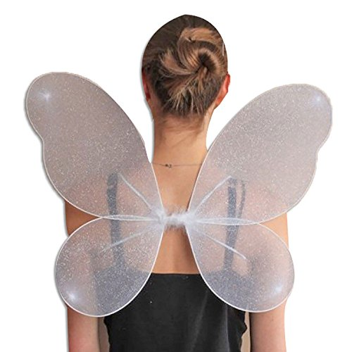 Womens Net Fairy Wings With Silver Glitter Adults Hen Stag Party Fancy Accessory White -
