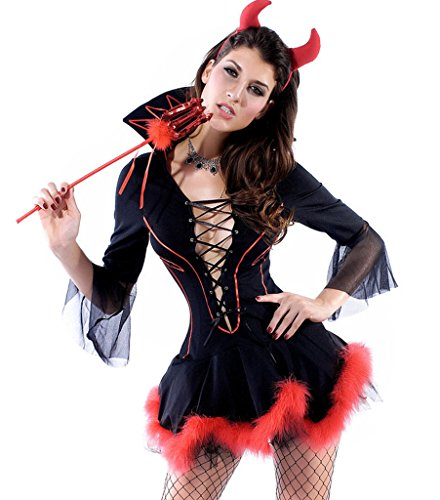 [Wincolor Halloween Cosplay Sexy Devil Lady She-Devil Costume Mini Dress] (Hot Halloween Costumes Devil)