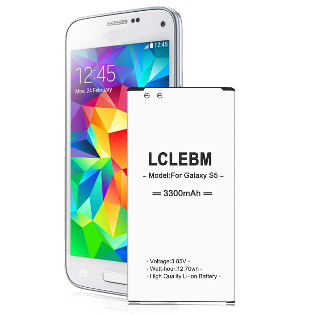 Galaxy S5 Battery LCLEBM 3300mAh Li-ion Battery Replacement Galaxy S5 Spare Battery for Samsung Galaxy S5 G900A, G900F, G900H, G900R4, I9600,G900V,G900P, G900T [24 Months Warranty]