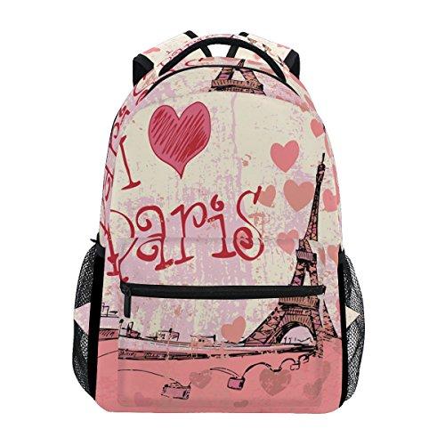 TropicalLife Eiffel Tower I Love Paris Backpacks School Bookbag Shoulder Backpack Hiking Travel Daypack Casual Bags - Paris Laptop Carrying Backpack