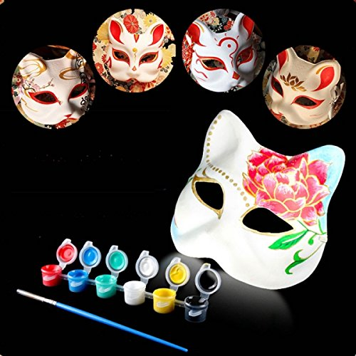 Halloween Cosplay Costume Party Fox Mask Paper Pulp Mask for DIY White by Aroundstore