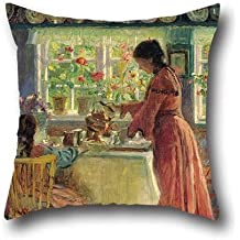 Oil Painting Laurits Tuxen - Pouring The Morning Coffee Pillowcase 18 X 18 Inches / 45 By 45 Cm Gift Or Decor For Shop,deck Chair,boy Friend,pub,lounge,bedroom - Twice Sides
