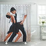 AA0AA Shower Curtains Red Salsa Tango Dancers Digital Painting White Dance Shower Curtain 72 x 72 Inches Shower Curtain with Plastic Hooks