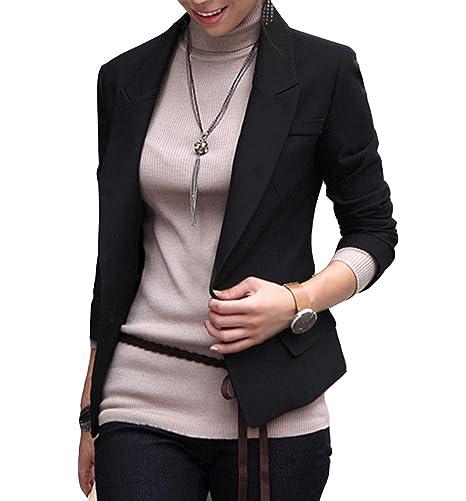 Runyue Mujeres Blazers Chaqueta de Traje Slim Fit Elegante Oficina ...