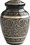 "UrnConcern Classic Cremation Urn. Hand Engraved Solid Brass With Black Lacquer Coat. 10"" Height, Includes Velvet Storage & Display Box."