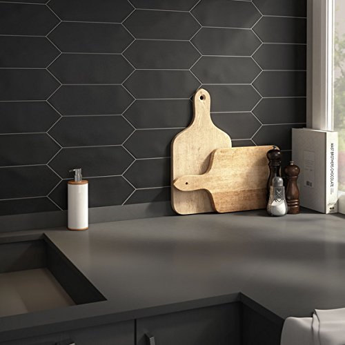 SomerTile 4x11.75-inch Cometa Black Porcelain Floor and Wall Tile (40/Case, 11.81 sqft.)