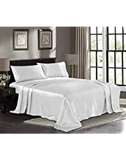 "Luxury & Soft 100% Pure Silk Satin 4Pcs Bed Sheet Sets, Fitted Sheet, Flat Sheet & 2pc Pillow Cases, Fits Mattress Upto 10'' Deep Pocket, Black, Queen Size(60""X80"")"