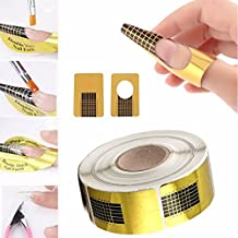 100PCS Nail Art Tips Golden Extension Forms Guide DIY Tool Acrylic UV Gel US