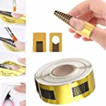 100PCS Nail Art Tips Golden Extension...