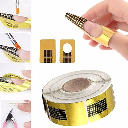 100PCS Nail Art Tips Golden Extension Forms Guide DIY, used for sale  Delivered anywhere in Canada