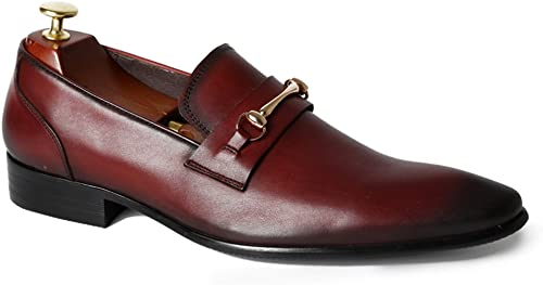FARYM Mens Vintage Cow Leather Office Loafers with Snaffle