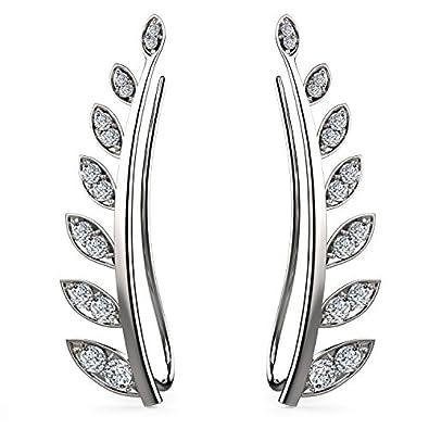 8f1ea5cbd9d7 Feramox Sterling Silver Leaf Ear Climber Earrings Cubic Zirconia Ear  Crawler Earrings Simple