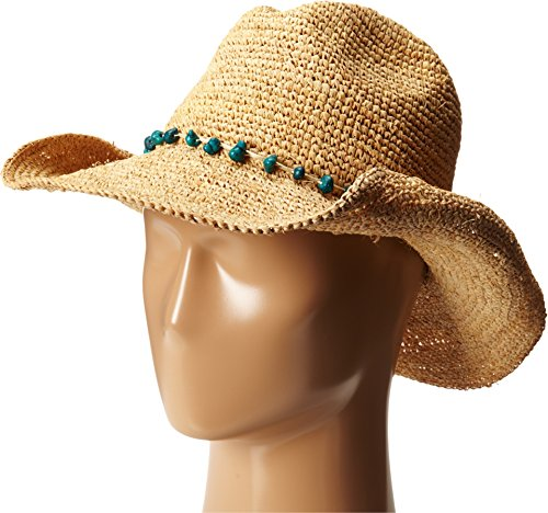 San Diego Hat Company Women's Crochet Raffia Cowboy Hat with Turquoise Hat with Beaded Trim, Natural, One Size (Beaded Raffia)