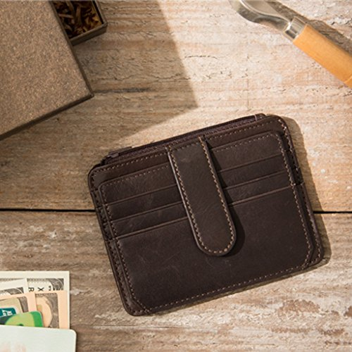 Home 1219 Wei Money Color Wallet Holder Men's Slim Brown2 Card Brown1 5cm Ms Retro Leather Wallet Hong Card Clips ID Size 4SqSg5