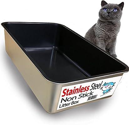 Amazon.com: iPrimio - Arenero para gatos de acero inoxidable ...