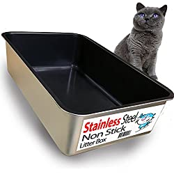 iPrimio Cat Litter Box Non-Stick Plated Stainless Steel XL Litter Pan – Odor and Rust Free – Easy to Clean & Designed by Cat Owners – No Residue Build up