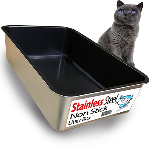 Stainless Steel Litter Boxes (iPrimio Cat Litter Box by Non-Stick Plated Stainless Steel XL Litter Pan – Odor and Rust Free – Easy to clean & Designed by Cat Owners – No residue build up)