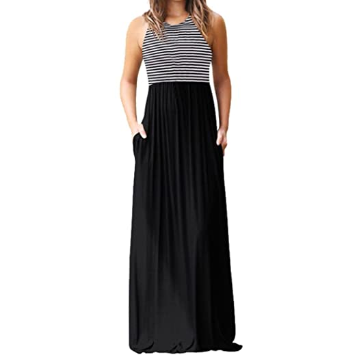1e2b56fabb9a Image Unavailable. Image not available for. Color  Caopixx Women s Summer  Sleeveless Striped Flowy Casual Long Maxi Dress