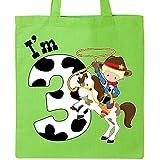 Inktastic - I'm Three-cowboy riding horse birthday Tote Bag Lime Green 2ca40