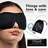 2in1 - Luxuriously soft 3D SLEEP MASK, pleasant touch, PERFECT MAKE UP without defects, 1 pair of HIGH FIDELITY EARPLUGS - give you a blissful SILENCE everywhere - MyTravelUp (Black)