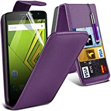 ONX3® Motorola Moto X Play Case BookStyle PU Leather Wallet Flip With Credit / Debit Card Slot With LCD Screen Protector Guard, Leather Flip Case Credit / Debit Card, S Line Wave Gel Case Skin Cover, Polishing Cloth & Mini Retractable Stylus Pen