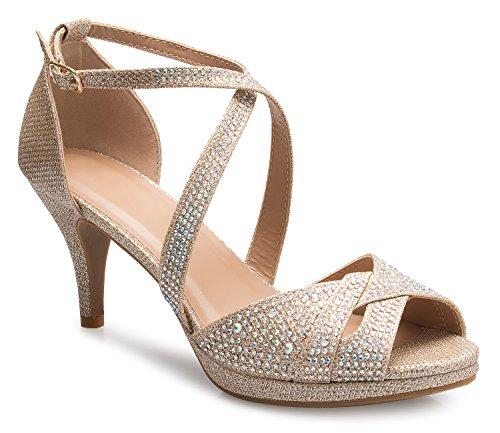 (OLIVIA K Women's Sexy Strappy Glitter Rhinestone Open Toe Heel Sandals - Adjustable Buckle)