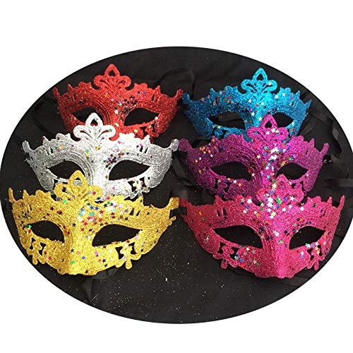 Kerocy Girls Eye Mask Glittery Xmas Half Face Masquerade Party for Carnival Fancy Ball Costume 6 Pack(Random Color) ()