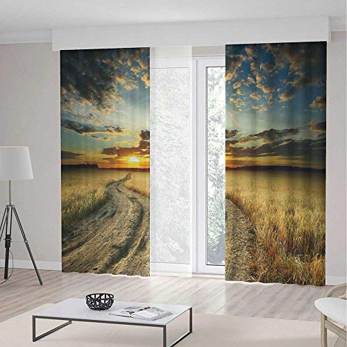 iPrint Nature Long Curtains,Road in the Field Ripe Yellow Wheat Garden under Cloudy Sunset Sky Landscape,Window Drapes 2 Panel Set, Living Room Bedroom,157 W 84 (Wheat Bamboo Curtain)