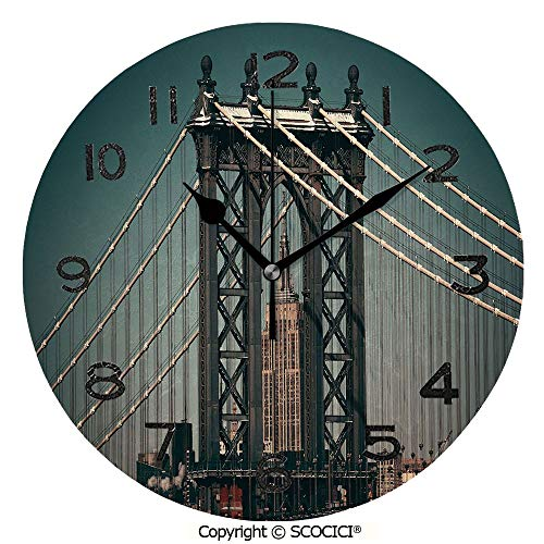 SCOCICI Print Round Wall Clock, 10 Inch City Lights Landscape View with Bridge Empire State Building Skyscrapes Picture Quiet Desk Clock for -
