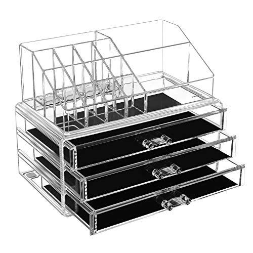 SONGMICS Acrylic Clear Make up Organiser Cosmetic Box large 3 Drawers