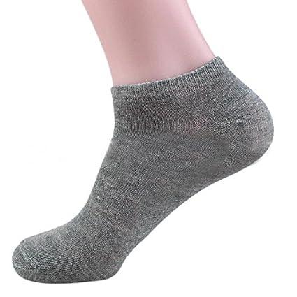 NINGNETI Los hombres de algodón calcetines barco barco Corto tobillo calcetines invisibles de invierno (Gris