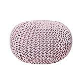 Beliani Modern Knitted Round Pouf Ottoman Soft Cotton Pink 20-inch Conrad