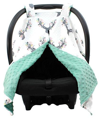 Infant Car Seat Mint - Dear Baby Gear Deluxe Carseat Canopy, Custom Minky Print Girl Antler Flowers Mint Green Minky Dot