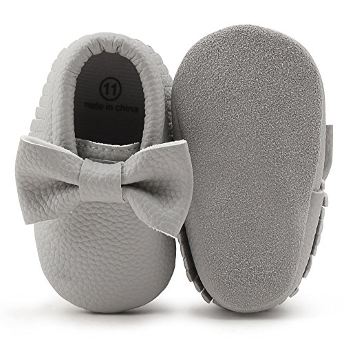 OOSAKU Infant Toddler Baby Soft Sole PU Leather Bowknots Shoes (12-18 Months, Grey)