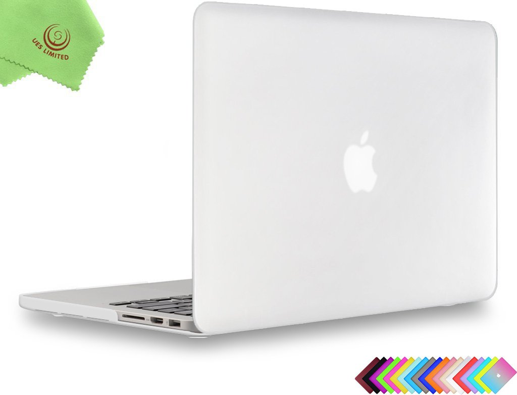 UESWILL Matte Hard Case Cover for MacBook Pro (Retina, 15 inch, Mid 2012/2013/ 2014/ Mid 2015), Model A1398, No CD-ROM, No Touch Bar, Clear