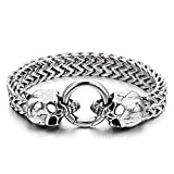Best Bracelets With Skulls - Gothic Mens Stainless Steel Skull Franco Link Curb Review