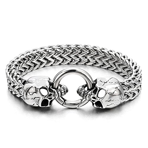 Gothic Mens Stainless Steel Skull Franco Link Curb Chain Bracelet with Spring Ring Clasp 8.5 Inches