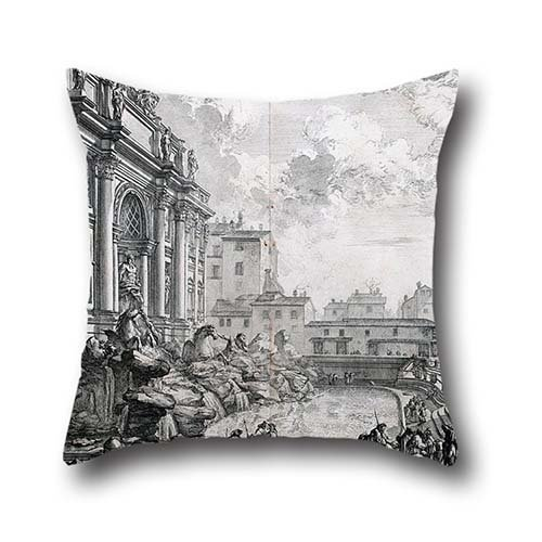 Oil Painting Giovanni-Battista Piranesi - Side View Of The Trevi Fountain, Formerly The Acqua Vergine From Vedute Di Roma (Views Of Rome) Pillowcover ,best For Son,dinning Room,play (Halloween Room 26 Roma)