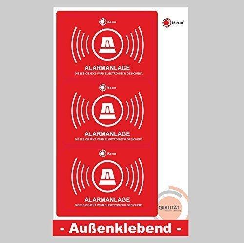 3 Stück Aufkleber Alarm, iSecur, alarmgesichert, 70x50mm, Art. hin_120_außen, Hinweis auf Alarmanlage, außenklebend für Fensterscheiben, Haus, Auto, LKW, Baumaschinen