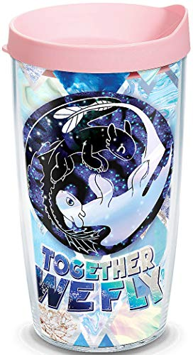 Tervis 1319486 DreamWorks How To Train Your Dragon - Together We Fly Insulated Tumbler with Wrap and Pink Lid, 16 oz, ()